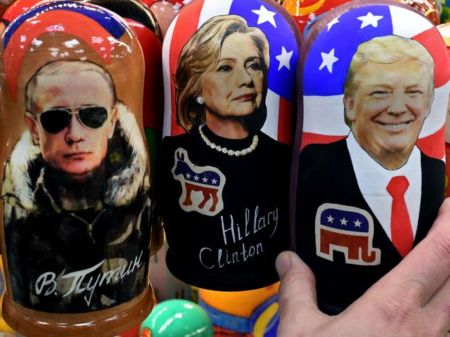 US election Russian dolls on sale in Moscow. Alleged Russian hacks of the Democratic party have plagued the Clinton campaign. Picture: AFP PHOTO / Kirill KUDRYAVTSEV