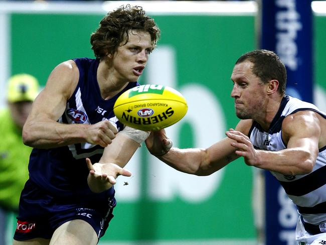 Nat Fyfe battled a shoulder injury all game. Picture: Wayne Ludbey
