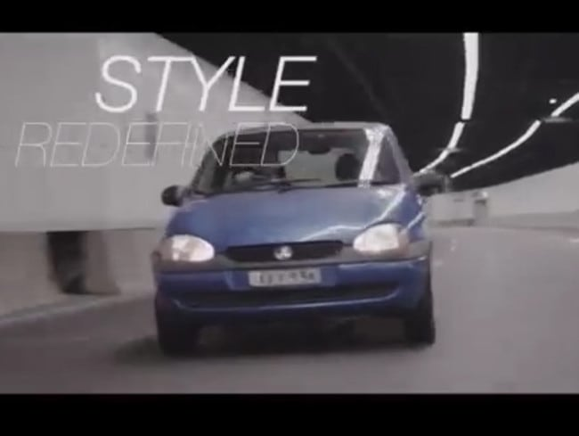 The video looks professional, until you notice the old car.