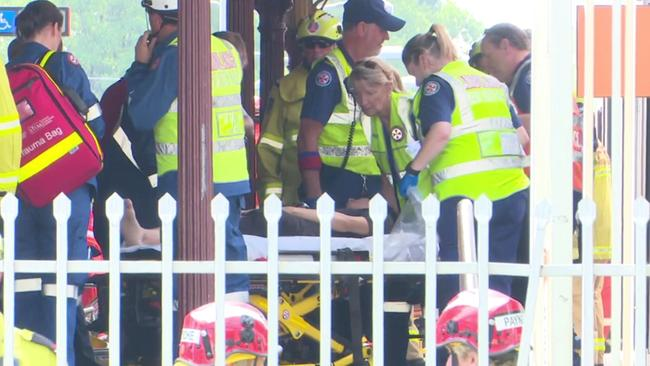 Emergency services are at Richmond station where it is believed a train hit a buffer. Picture: TNV.