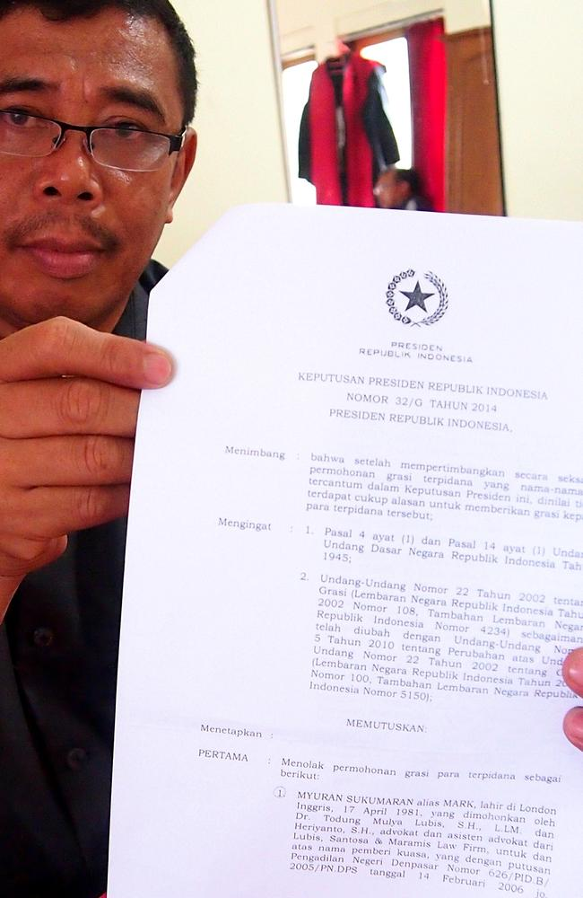 The Presidential Decree sealing Myuran Sukumaran's fate. Picture: Lukman S Bintoro
