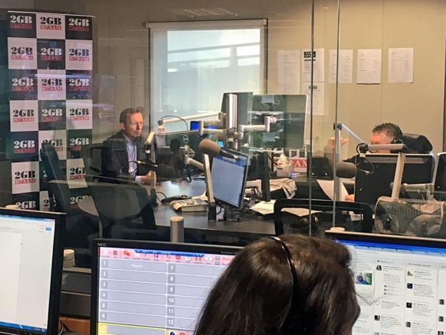 Tony Abbott during his first fortnightly chat with Ray Hadley on radio station 2GB in Sydney. Picture: Twitter
