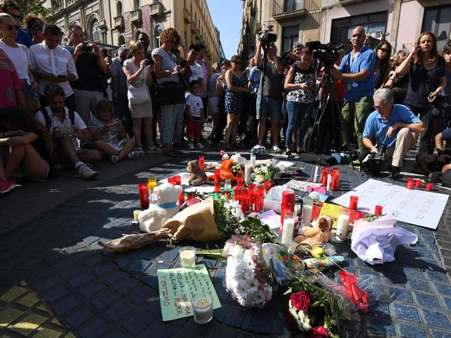 A makeshift shrine on Las Ramblas for the victims. Picture: AFP