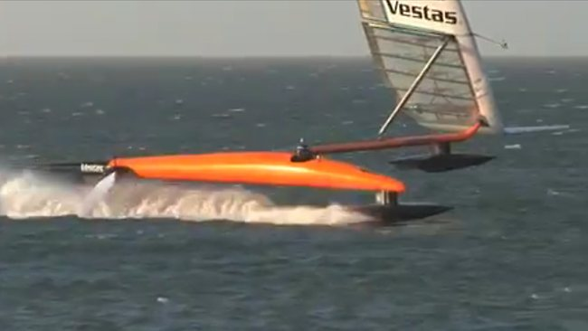 Paul Larsen's Sailrocket broke a new world record for sailing in waters off Namibia at a top speed of 68 knots.