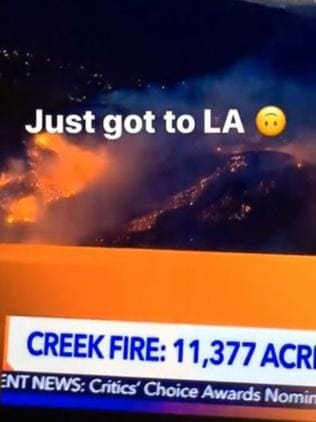 Nicole Trunfio posted to social media about the LA fires. Picture: Snapchat