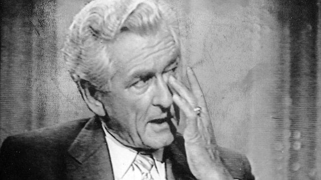 1989. Prime Minister Bob Hawke wipes a tear away on TV show 'Newsworld' after admitting to having been unfaithful to his wife. Picture: Channel 7