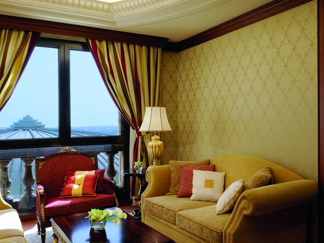 One of the lavishly decorated rooms at The Ritz-Carlton in Riyadh.