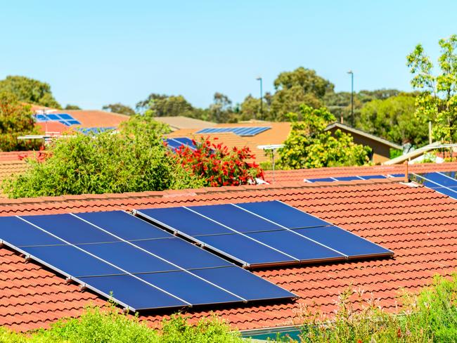Solar panels installed on the roof in South Australia where the state government encourages their use with a battery rebate scheme.