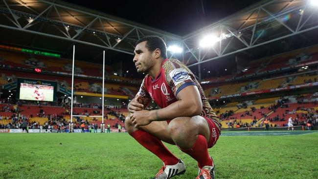 An emotional Genia takes a moment after his final Reds game. (Liam Kidston.)