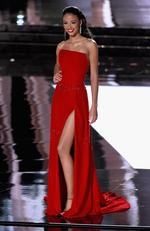 Miss France 2015, Flora Coquerel, competes in the evening gown competition during the 2015 Miss Universe Pageant on December 20, 2015 in Las Vegas. Picture: Getty