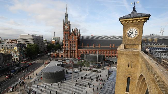 London's King's Cross (foreground) and St Pancras (background) stations have been redeveloped at a cost of billions.