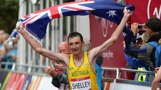 Michael Shelley celebrates after winning the men's marathon at Glasgow Green. Picture: Adam Head