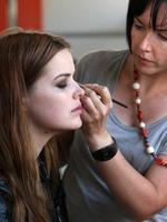 'Plus' size model Robyn Lawley getting made up before an Anne Leibovitz-style photo shoot.