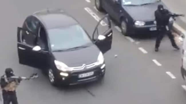 Scene ... two of the gunmen who opened fire at French newspaper Charlie Hebdo in Paris. Picture: Live Leak Source