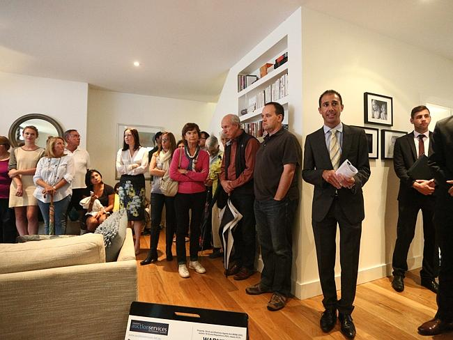 Rocky Bartolotto from auctioning off the property at 96 Short St, Birchgrove. Picture: Phil Blatch