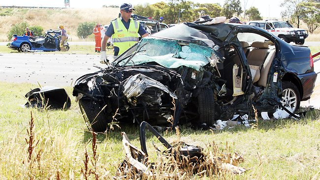 The BMW at the crash scene on the Princes Fwy in Lara. Picture: Norm Oorloff