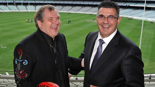 CEO of the AFL, Andrew Demetriou met his long time hero Meat Loaf who will be performing at the Grand Final this Saturday. Meatloaf (left) with Andrew Demetriou. Picture: Craig Borrow