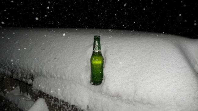 Carlsberg Cold ... This was at Mt Hotham in Victoria on Monday night, barely 12 hours into a megablizzard which is tipped to last as long as 10 days. Entire beer trucks could soon be buried.