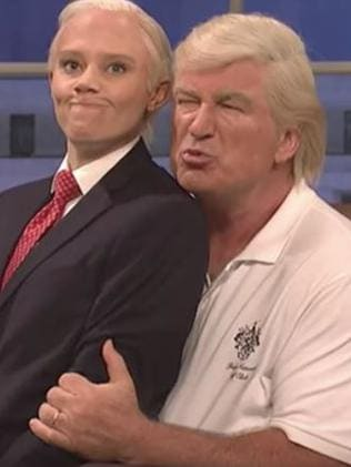 Kate McKinnon as Jeff Sessions and Alec Baldwin as Donald Trump on SNL. Picture: NBC