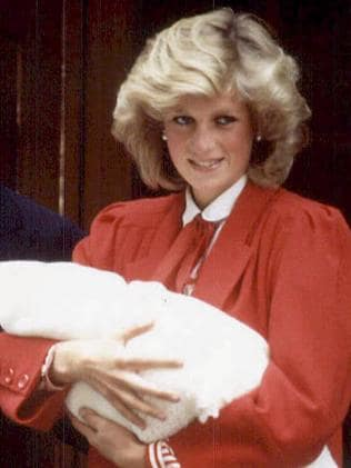 Diana Princess of Wales following birth of their second son, Prince Harry. Picture: AFPThe Duchess of Cambridge looked similar to Princess Diana in a red dress. Picture: James Whatling/Mega.