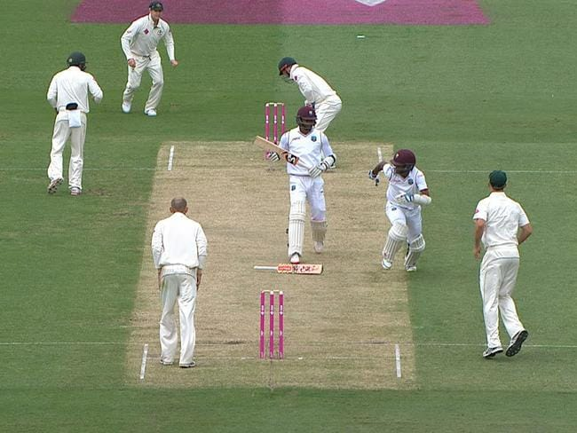 Brathwaite ditched his bat to run back to the safe end.