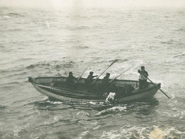 The body of an RMS Titanic victim being picked up at sea. Picture: Nova Scotia Archives