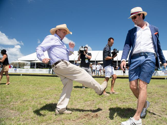 Pacific Fair Magic Millions Polo with Gerry Harvey and Hamish McLachlan. Picture: Ken Butti