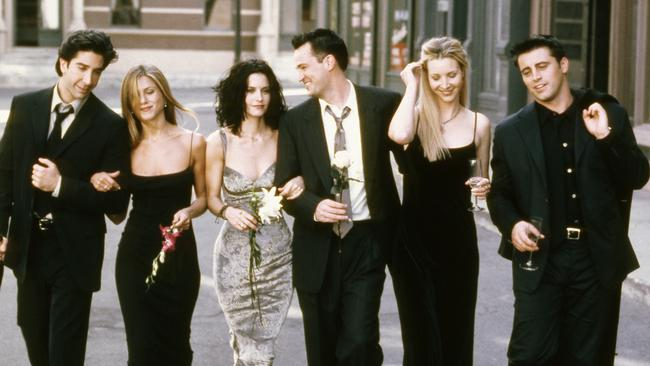 The cast of the hit sitcom Friends which starred David Schwimmer, Jennifer Aniston, Courteney Cox, Matthew Perry, Lisa Kudrow and Matt LeBlanc. Picture: NBC