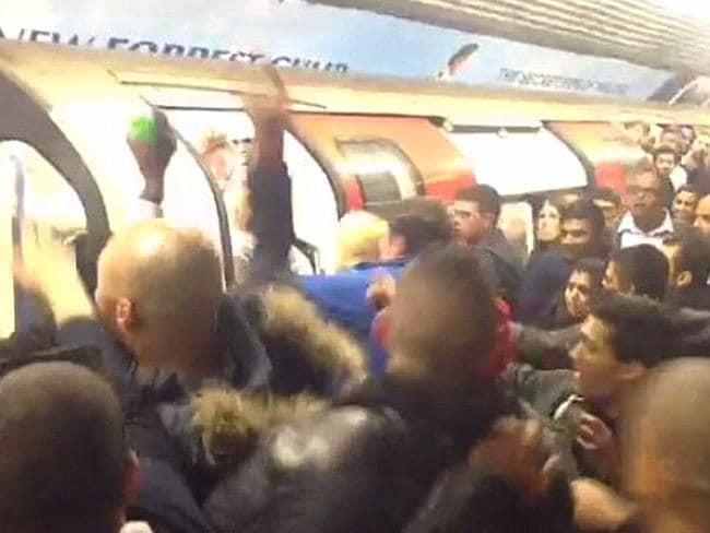 Brawl erupts on the London Tube.