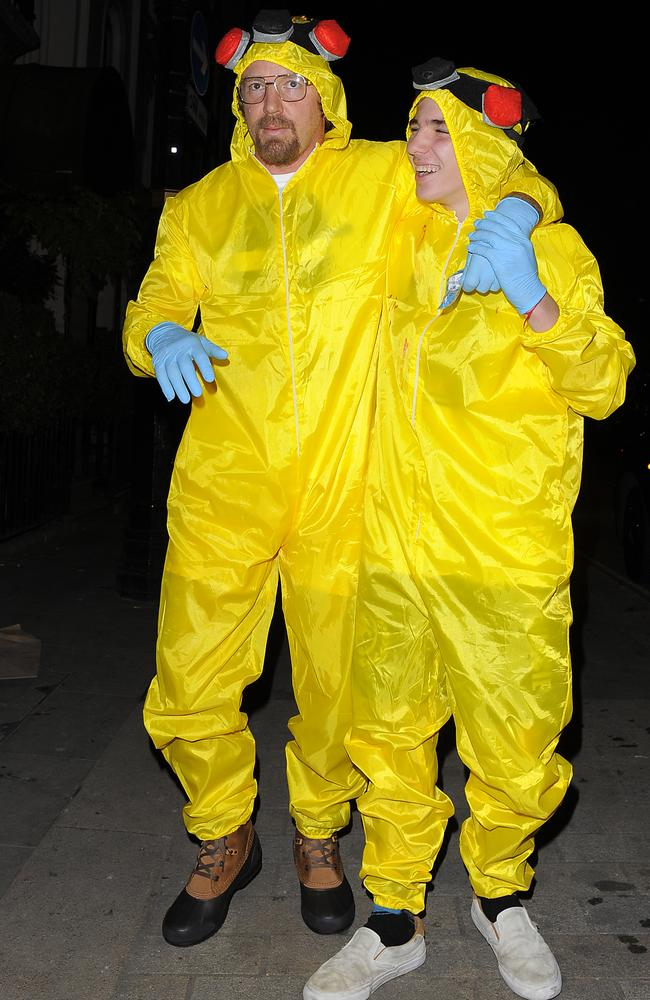 Breaking Bad ... Guy and Rocco Ritchie attend The Halloween Ball in aid of UNICEF. Picture: Hewitt/Splash News