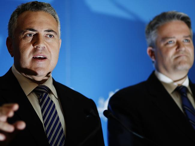 Treasurer Joe Hockey and Finance Minister Mathias Cormann on Budget Day, May 13.