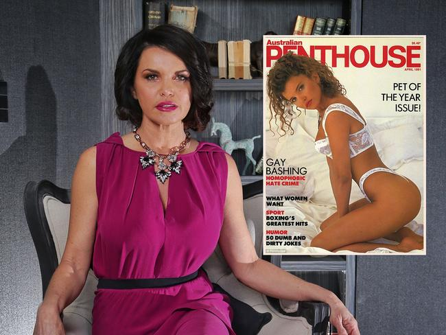 Suzi Taylor, contestant from The Block in one of her rooms, and on the cover of Australian Penthouse magazine.