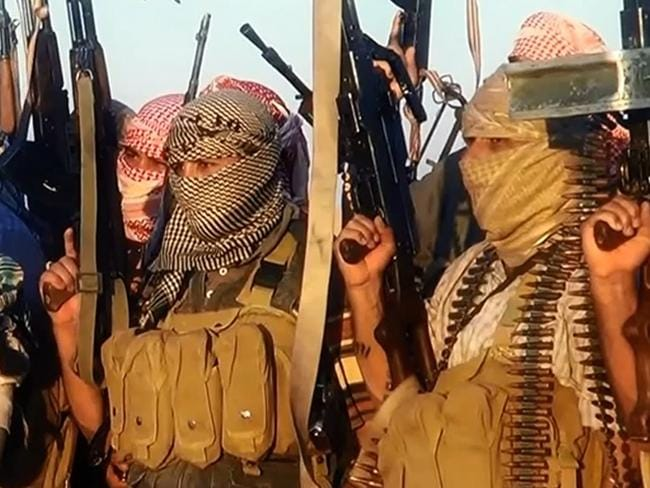 In command ... an image grab taken from a propaganda video shows ISIS militants near the central Iraqi city of Tikrit.