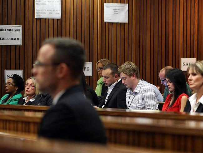 Tense ... June Steenkamp, the mother of Reeva Steenkamp (2nd L) listens during the trial of South African Paralympian Oscar Pistorius. Picture: AFP