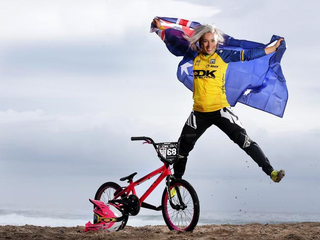 Buchanan reps the Aussie flag in the lead up to the Rio Olympic Games. Picture: Adam Head