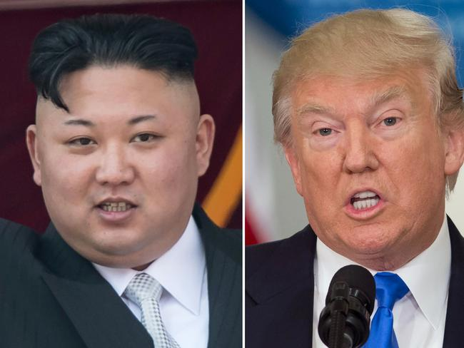 """(COMBO) This combo of file photos shows an image (L) taken on April 15, 2017 of  North Korean leader Kim Jong-Un on a balcony of the Grand People's Study House following a military parade in Pyongyang; and an image (R) taken on July 19, 2017 of US President Donald Trump speaking during the first meeting of the Presidential Advisory Commission on Election Integrity in Washington, DC. Nuclear-armed North Korea mocked President Donald Trump as """"bereft of reason"""" on August 10, 2017, raising the stakes in their stand-off with an unusually detailed plan to send a salvo of missiles towards the US territory of Guam. / AFP PHOTO / SAUL LOEB AND Ed JONES"""
