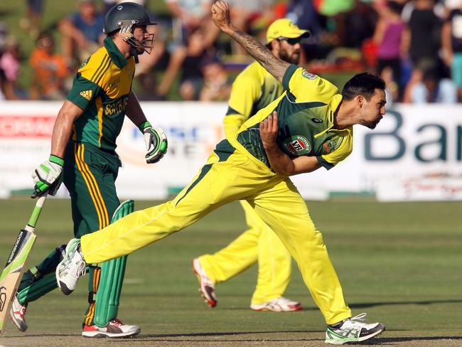 Australian paceman Mitchell Johnson unleashes a delivery against South Africa in the one-dayer that saw Ryan McLaren's arm broken.