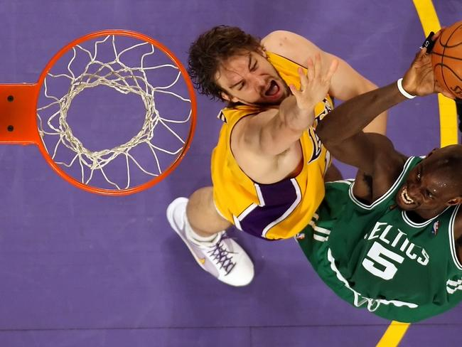 Pau Gasol (L) would bolster the inside defence of the Heat.