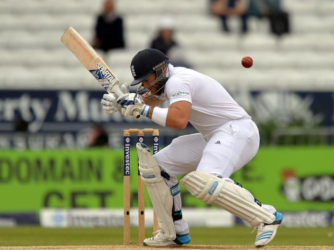 England's Matt Prior ducks to avoid a ball during the fifth and final day.