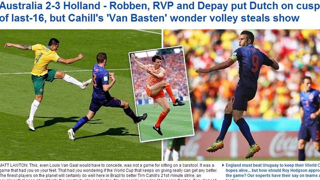 The  <i>Daily Mail's</i> reaction to Tim Cahill's wonder goal. Picture:  <i>Daily Mail</i>