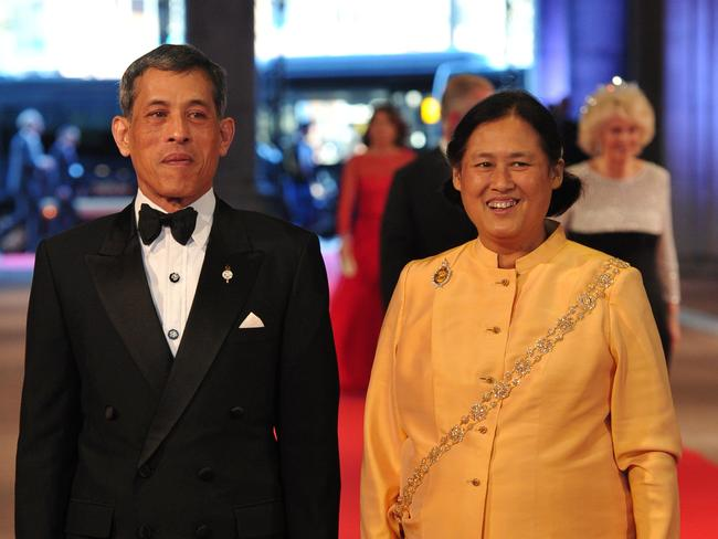 The King and his sister Princess Maha Chakri Sirindhorn attending a dinner at the National Museum (Rijksmuseum) in Amsterdam just before he was crowned. Picture: Carl Court/AFP