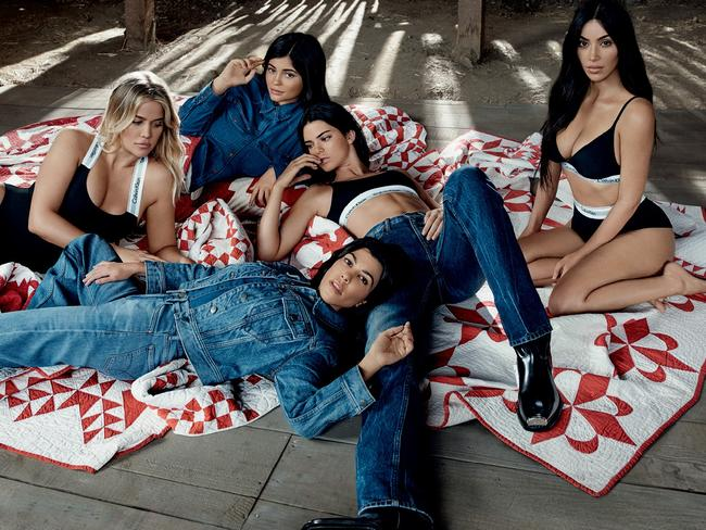 The campaign also featured Calvin Klein's denim line, as seen on Kylie, Kendall and Kourtney. Picture: Willy Vanderperre/Calvin Klein