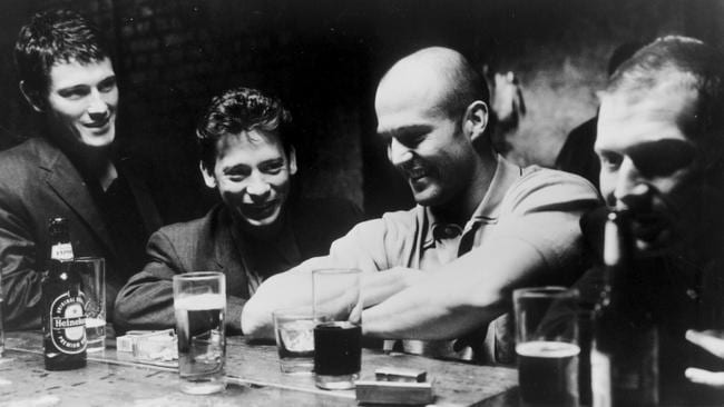Nick Moran as Eddy, Dexter Fletcher as Soap, Jason Statham as Bacon and Jason Flemyng as Tom in  <i>Lock, Stock & Two Smoking Barrels</i>.