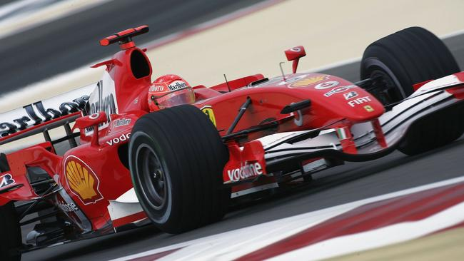 Schumacher on his way to pole in Bahrain.