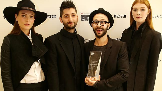 Melbourne designers Peter Strateas and Mario-Luca Carlucci of label Strateas Carlucci were announced as the winners of the $10,000 national designer award. Picture: Andrew Tauber