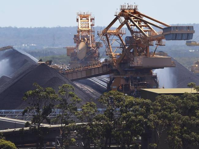 Coal mining at the Port of Newcastle. Picture: William West