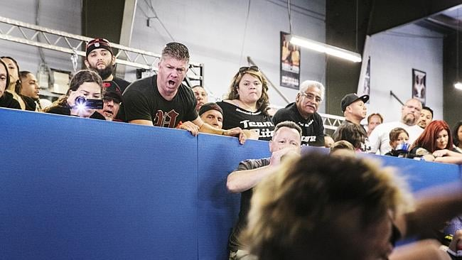 A father cheers on his son during the 2013 California State Pankration Championships Youth Division. Picture: Sebastian Montalvo/Polaris/Austral