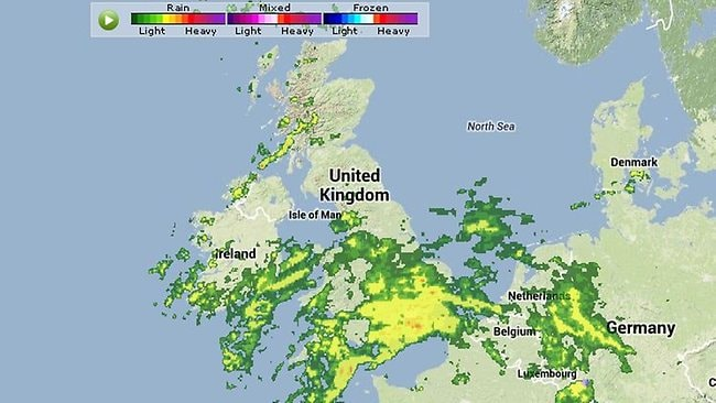 Rainfall associated with storm St Jude over Britain at noon AEST. Picture: WeatherUnderground
