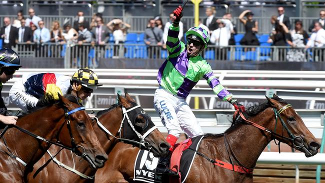 Dean Yendall couldn't hide his delight after riding I Am Star to Group 1 glory in the Myer Classic in the spring. Picture: Nicole Garmston