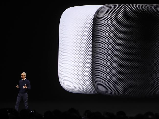 Apple first unveiled its smart speaker at WWDC in June last year. Picture: Justin Sullivan/Getty Images/AFP